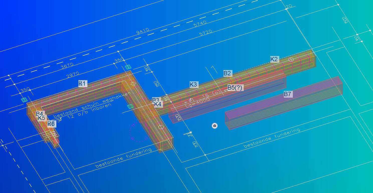 Aanbouw in 3D tekenpakket