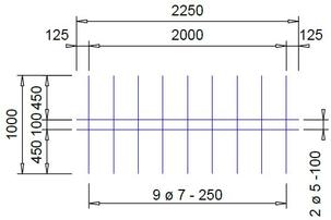 V 154 A voeg bouwstaalmat Ø5mm / Ø7mm | 2250 x 1000mm | 100 x 250
