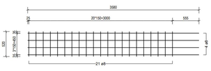 STR 520 strokenmat Ø8mm | 3580 x 520mm | 150 x 150