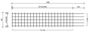 STR 720 strokenmat Ø8mm | 3580 x 720mm | 150 x 150