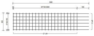 STR 820 strokenmat Ø8mm | 3580 x 820mm | 150 x 150