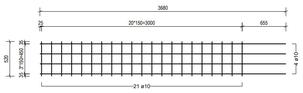 STR 520 strokenmat Ø10mm | 3680 x 520mm | 150 x 150