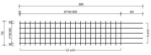 STR 720 strokenmat Ø10mm | 3680 x 720mm | 150 x 150