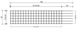 STR 820 strokenmat Ø10mm | 3680 x 820mm | 150 x 150