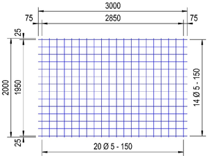 PS 130 A bouwstaalmat Ø5mm | 3 x 2 meter | 150 x 150