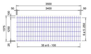 E 283 A voeg bouwstaalmat Ø5mm / Ø6mm | 3500 x 1375mm | 100 x 250