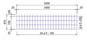 E 131 A voeg bouwstaalmat Ø5mm | 3500 x 875mm | 150 x 250