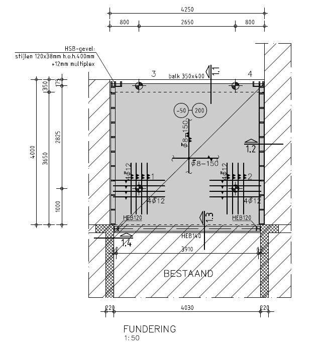 Aangeleverde tekening voor aanbouw