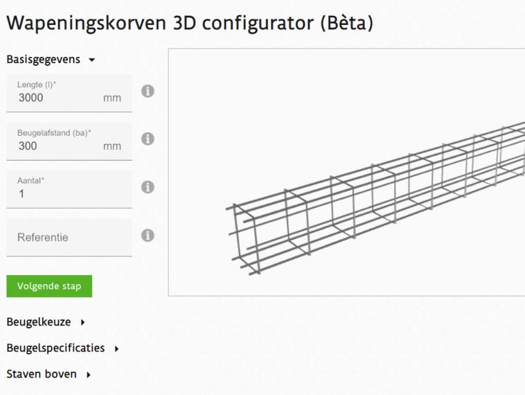 3D configurator voor het bestellen van wapeningskorven op maat
